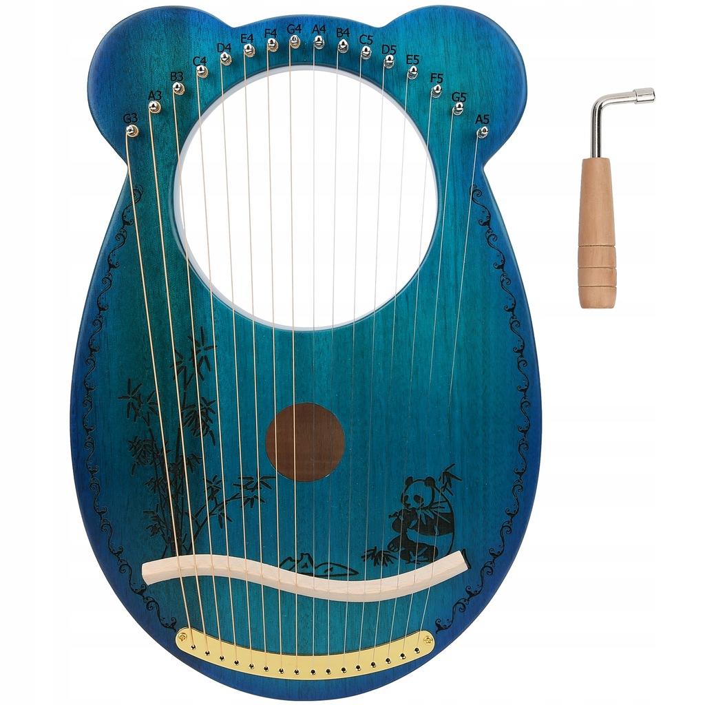 16 strun harfa mahoń z tunerem wzór pandy Instru