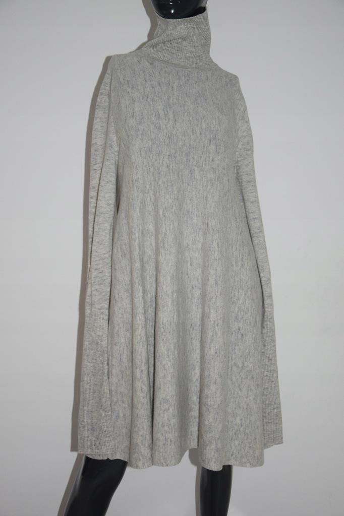 cos szara sukienka wełna A-line golf r. L/M40