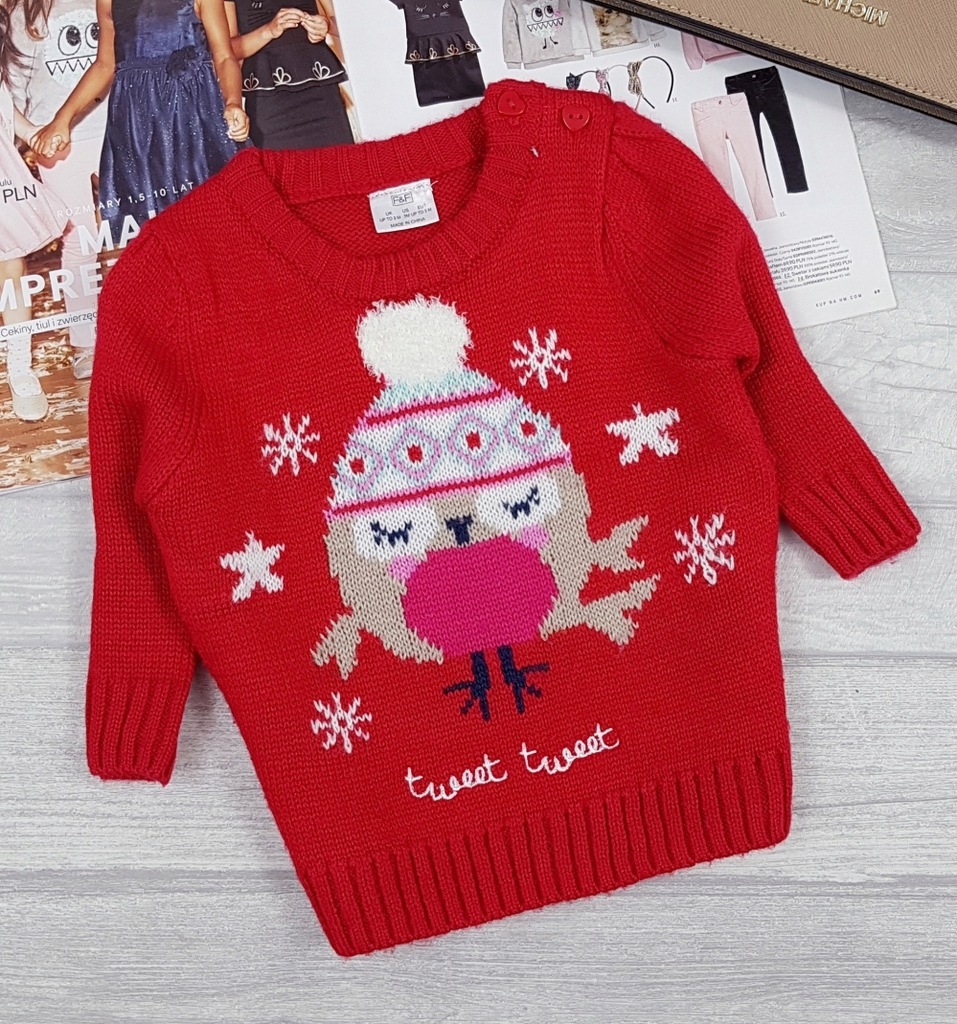 F&F czerwony ŚWIĄTECZNY ZIMOWY sweterek 62
