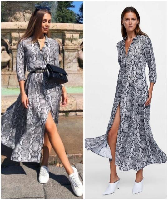 Sukienka 36 s Zara wężowa skóra węża koszulowa