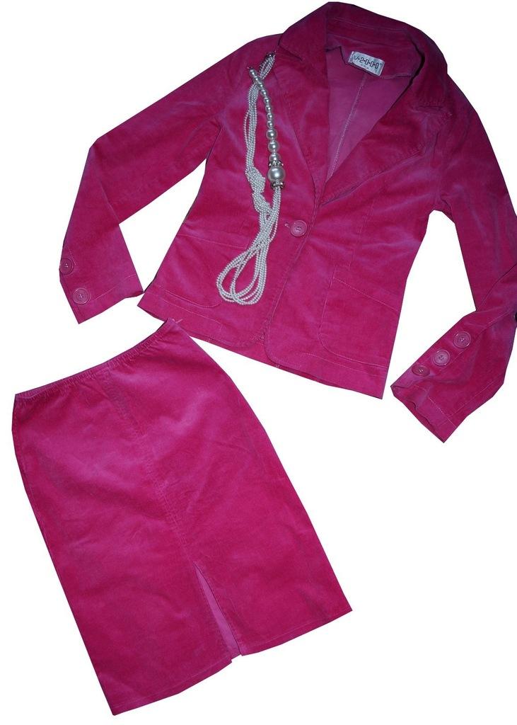 EKSKLUZYWNY elegancki kostium garsonka róż 36