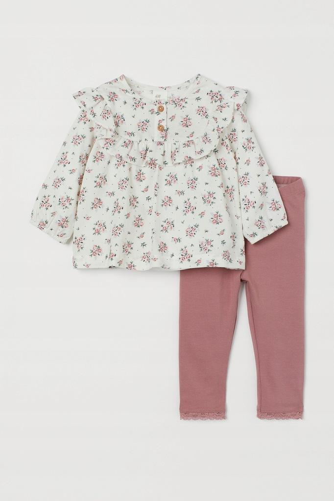 H&M piękny komplet koszula legginsy nowy 74