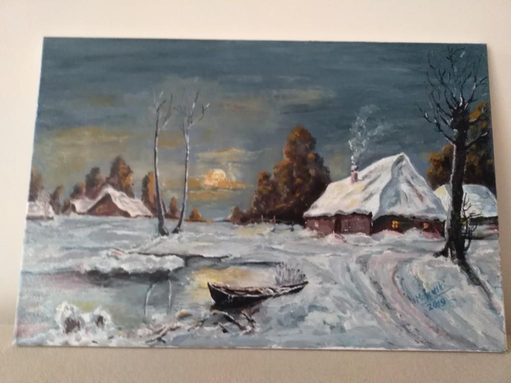 Zimowy pejzarz - obraz 40 x 60 cm -Marek Majewski