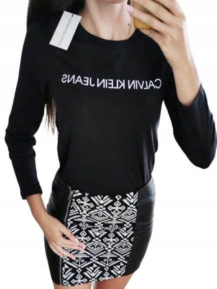 CALVIN KLEIN LONGSLEEVE koszulka bluzka czarna L