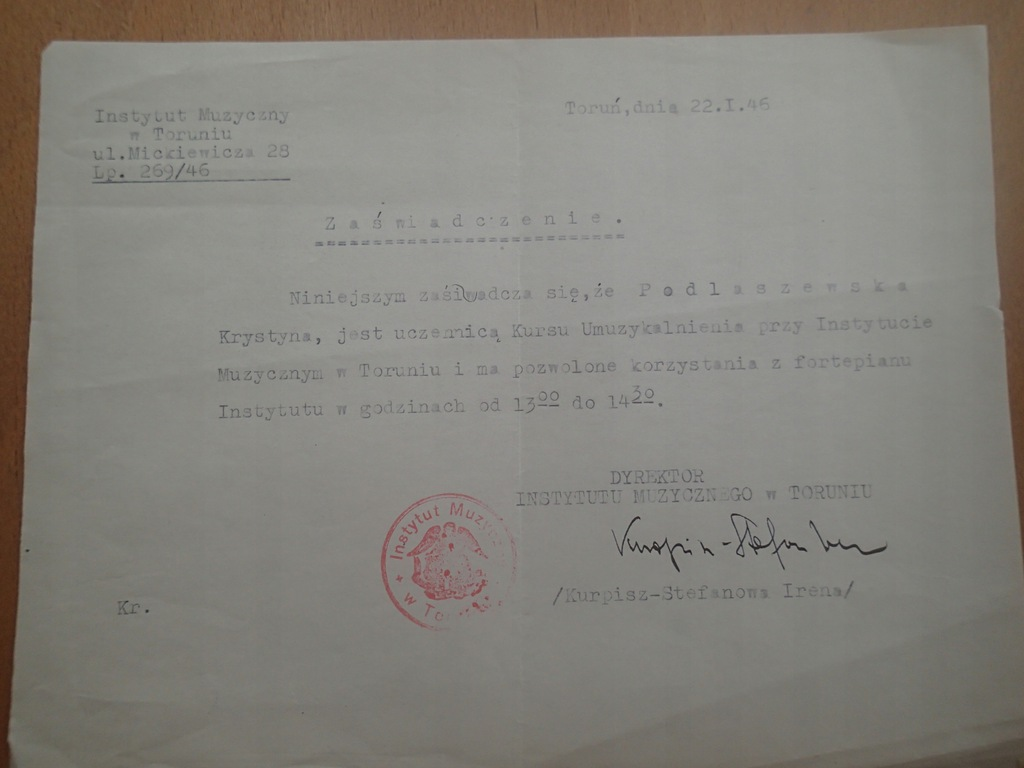 Instytut muzyczny Toruń Kurpisz Stefanowa 1946 r
