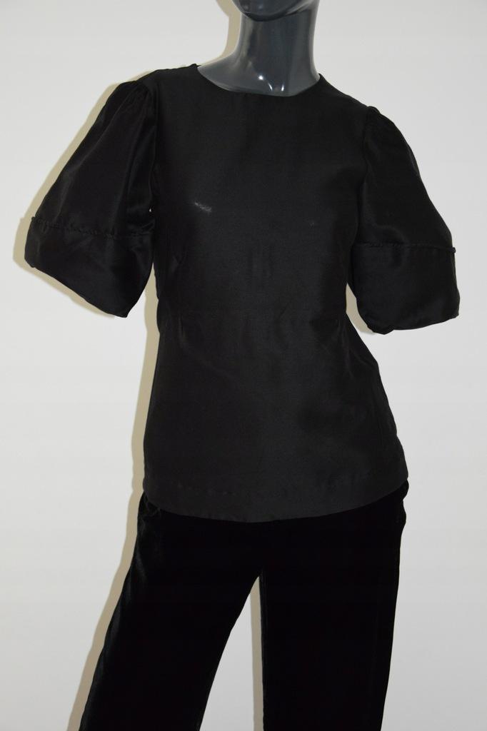 cos czarna bluzka bawełna jedwab 32/XXS