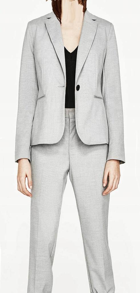ZARA 44 garnitur elegancki szary żakiet spodnie