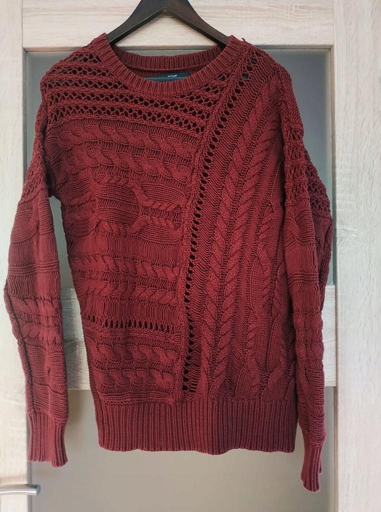 Sweterek NEXT S bordo ciekawy wzór