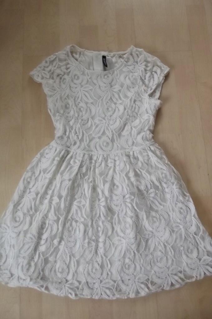 H&M sukienka koronka pudrowa ecru S