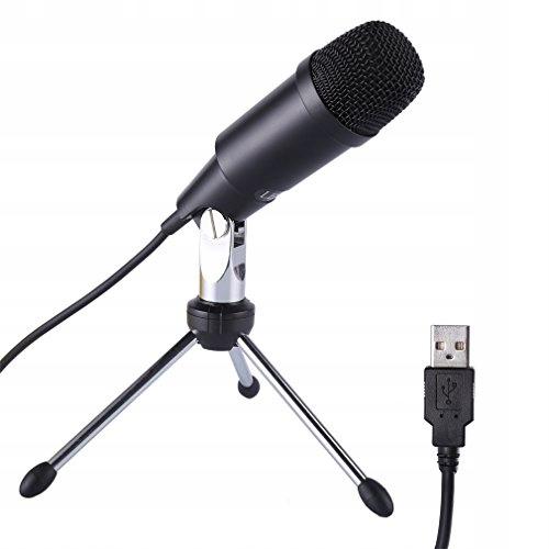 Mikrofon pojemnościowy USB ze statywem czarny
