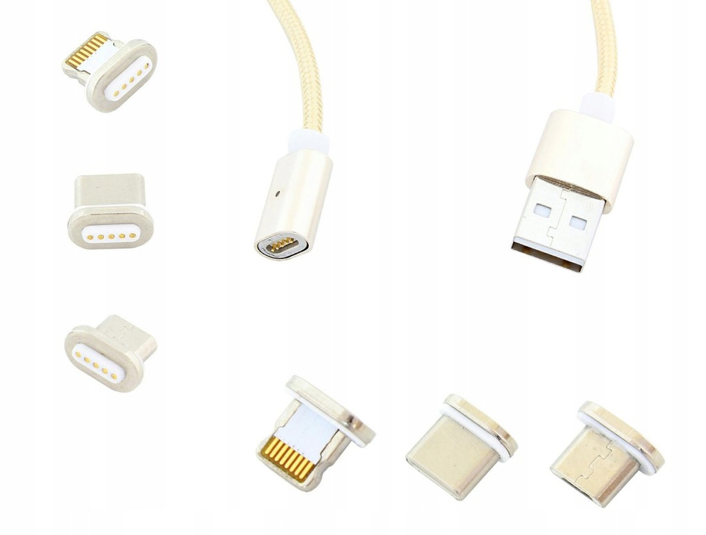 AK239B Magnet. kabel micro usb 3w1 złoty