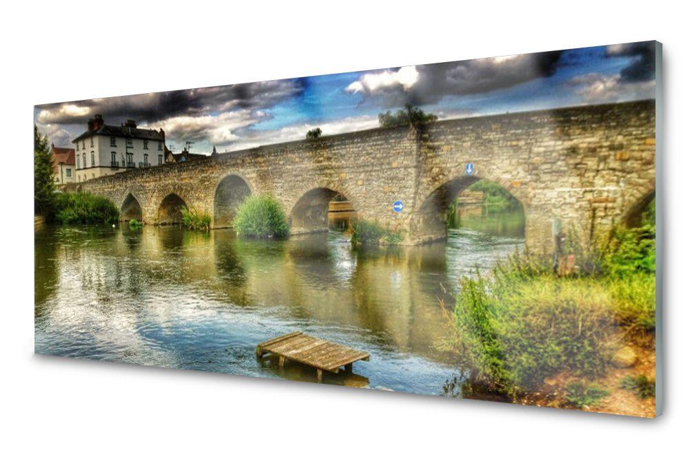 Lacobel Panel Szklany Ścienny Most Rzeka 120x60
