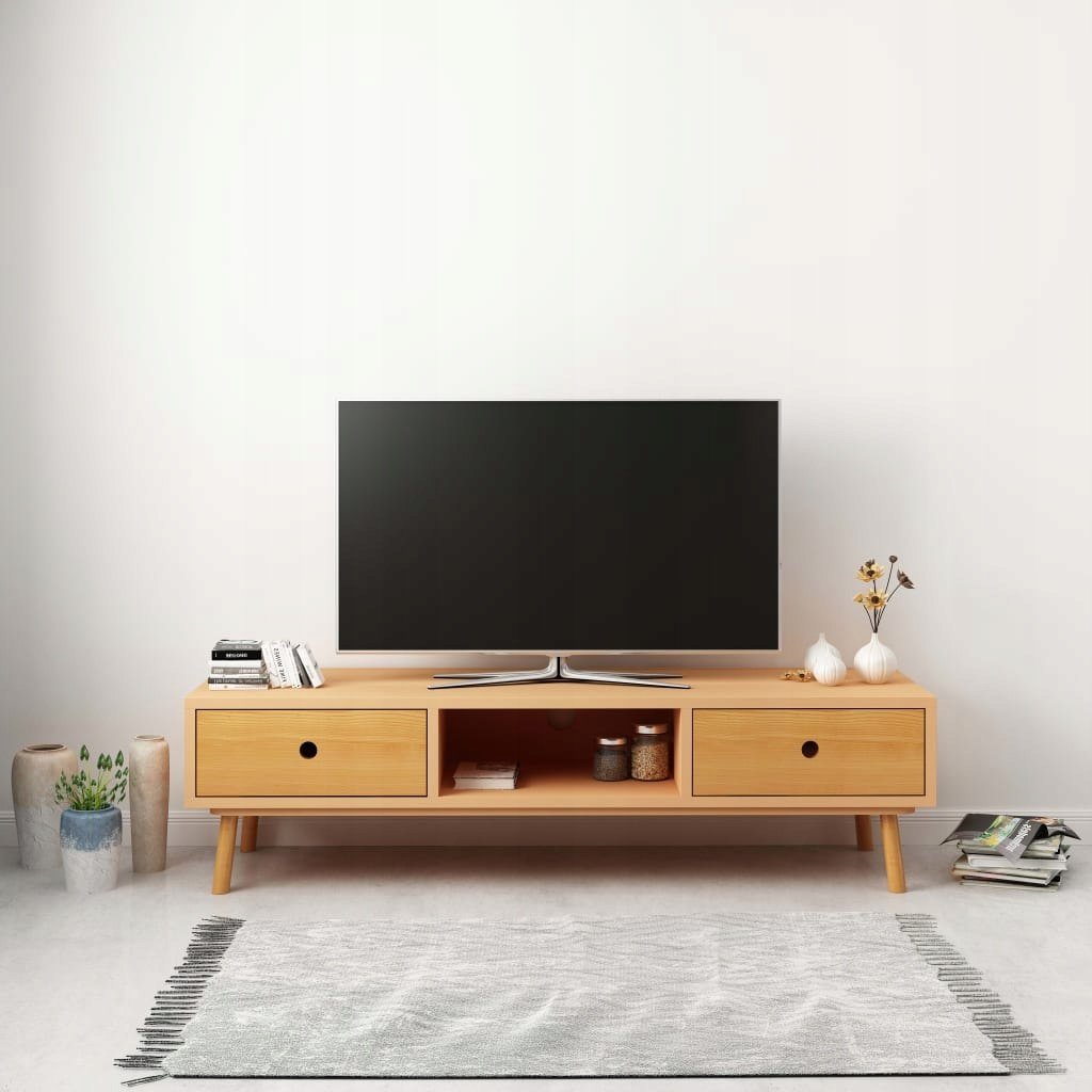 Szafka pod TV, 120 x 35 x 35 cm, lite drewno sosn