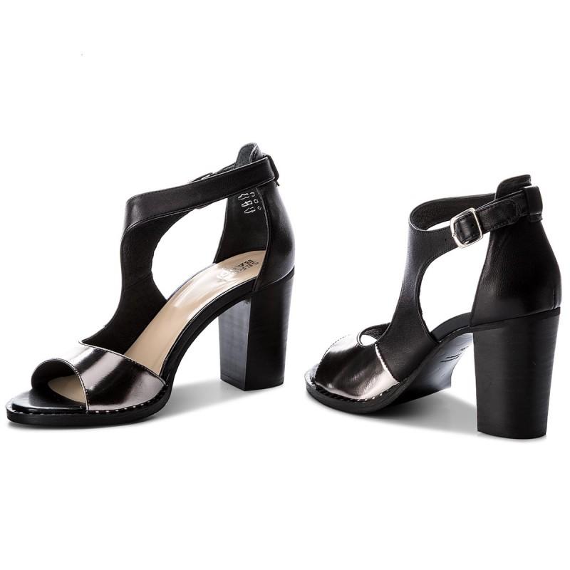 Sandały damskie Robson 8018 czarno srebrne skórzane R.38
