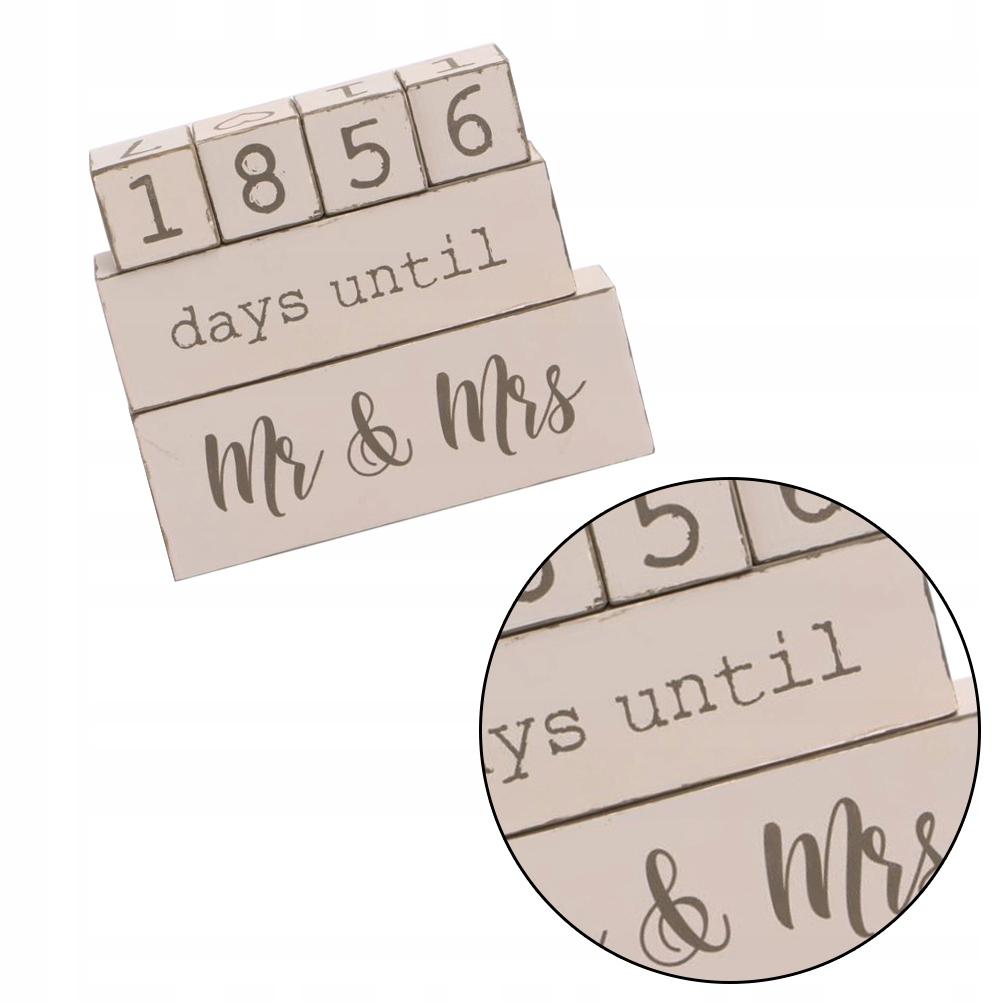 Drewniany kalendarz odliczania DIY kalendarz ślubn