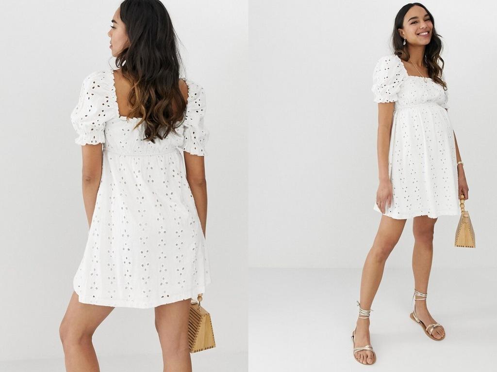 Biała Haftowana sukienka ciążowa na gumce L/40