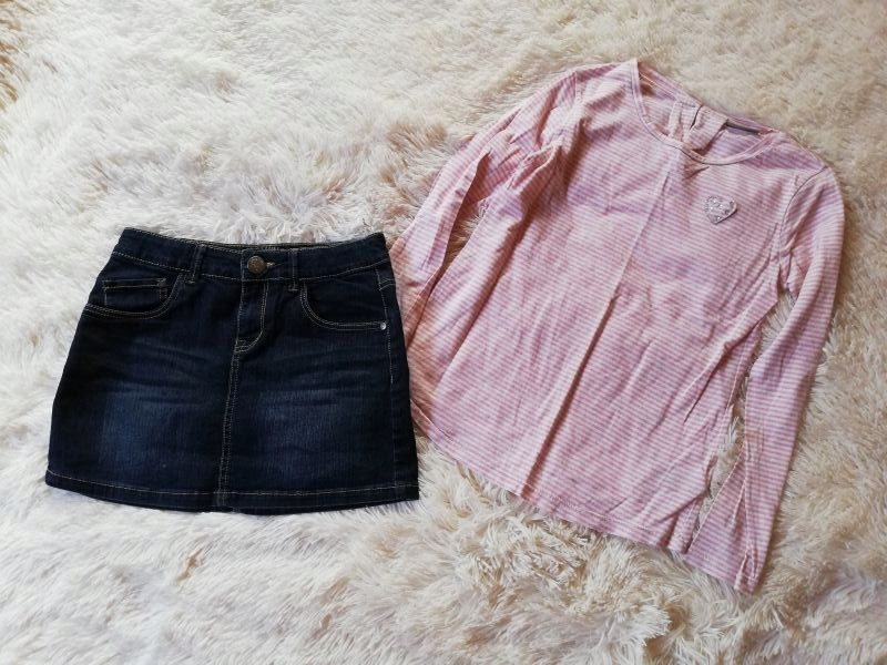 Komplet bluzka NEXT spódniczka jeansowa 146