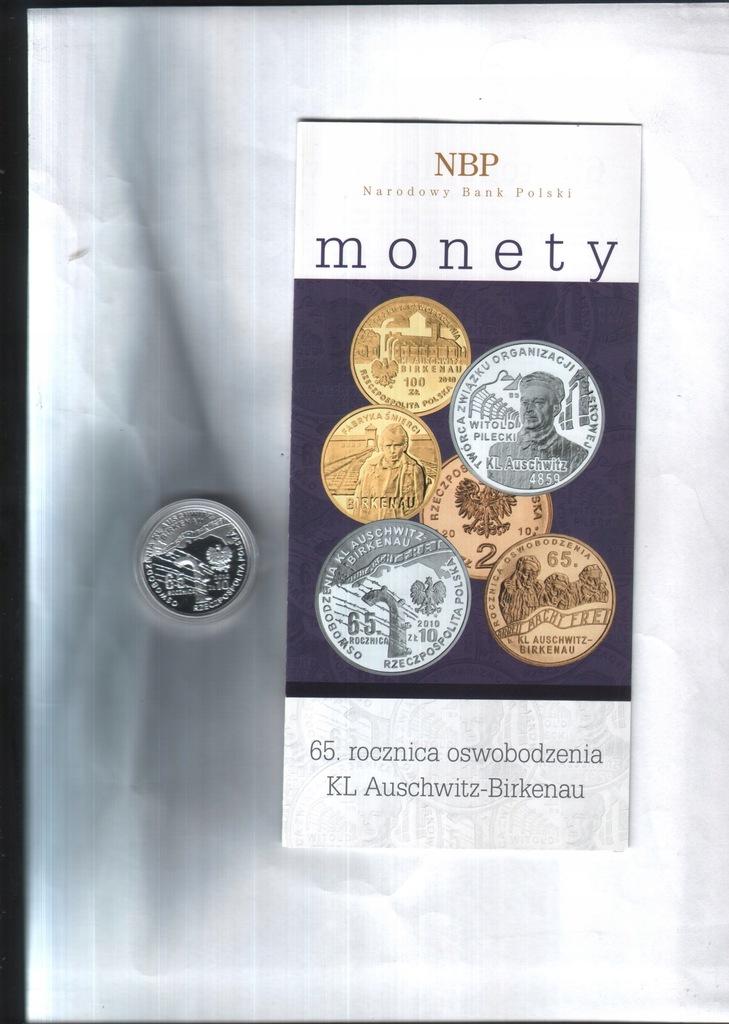 Moneta 10zł - 2010 - 65.r. osw. Auschwitz+ fol.NBP