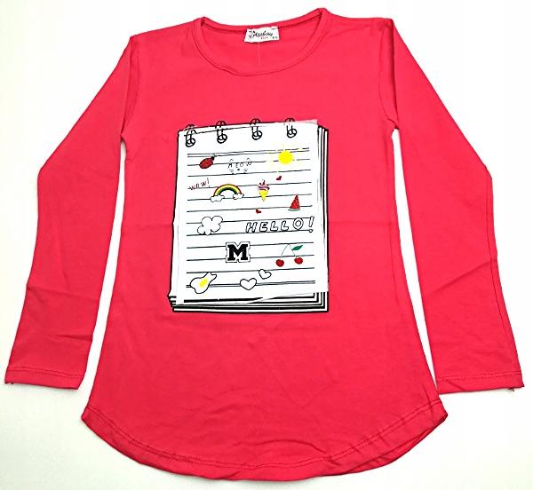 Bluzka czerwona nadruk notatnik rozmiar 134