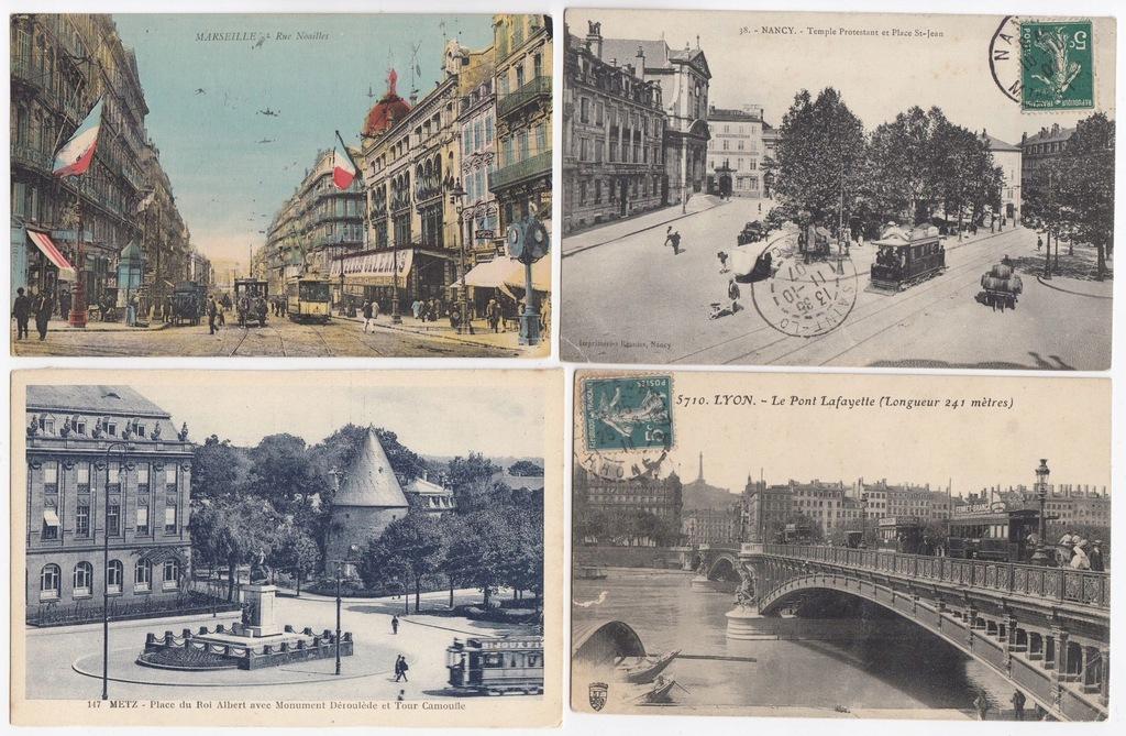 Stare pocztówki TRAMWAJ FRANCJA (4 szt.) 4T35