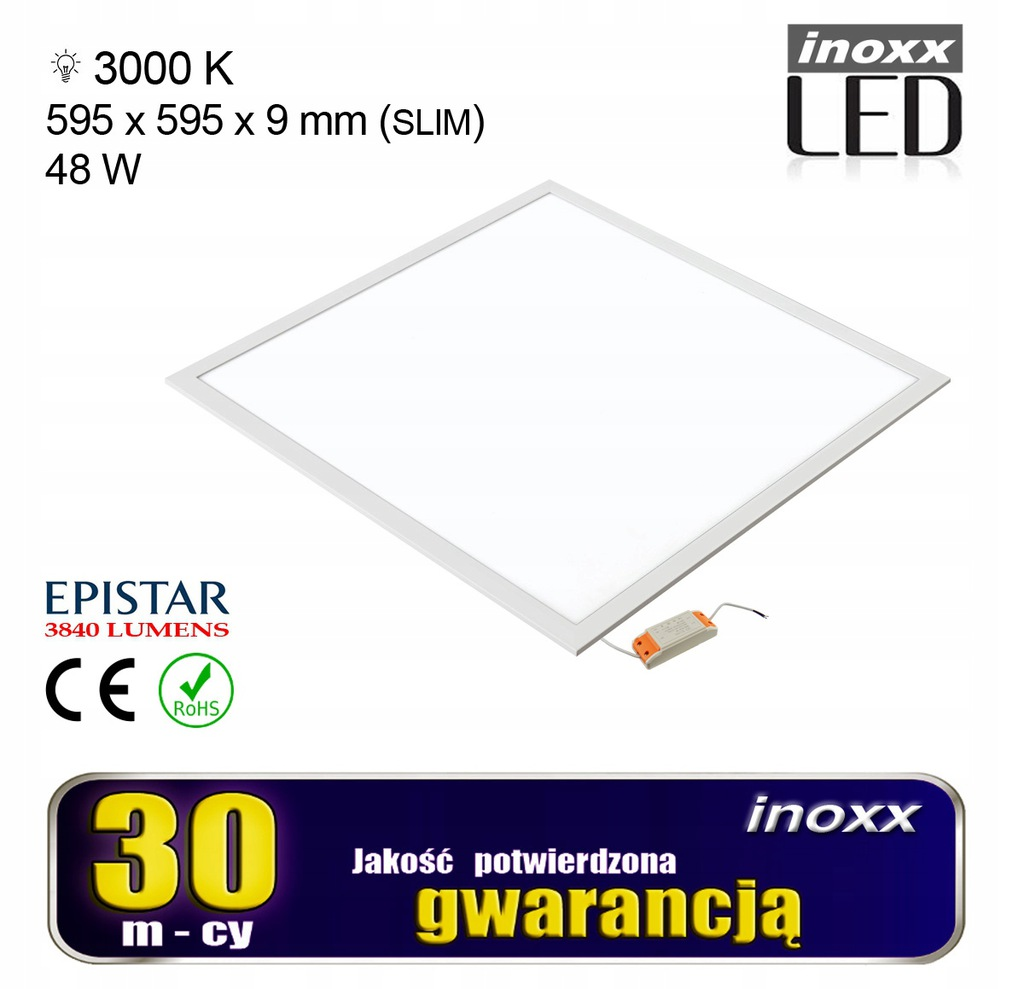 Panel led 60x60 48w lampa sufitowa kaseton 3000k c