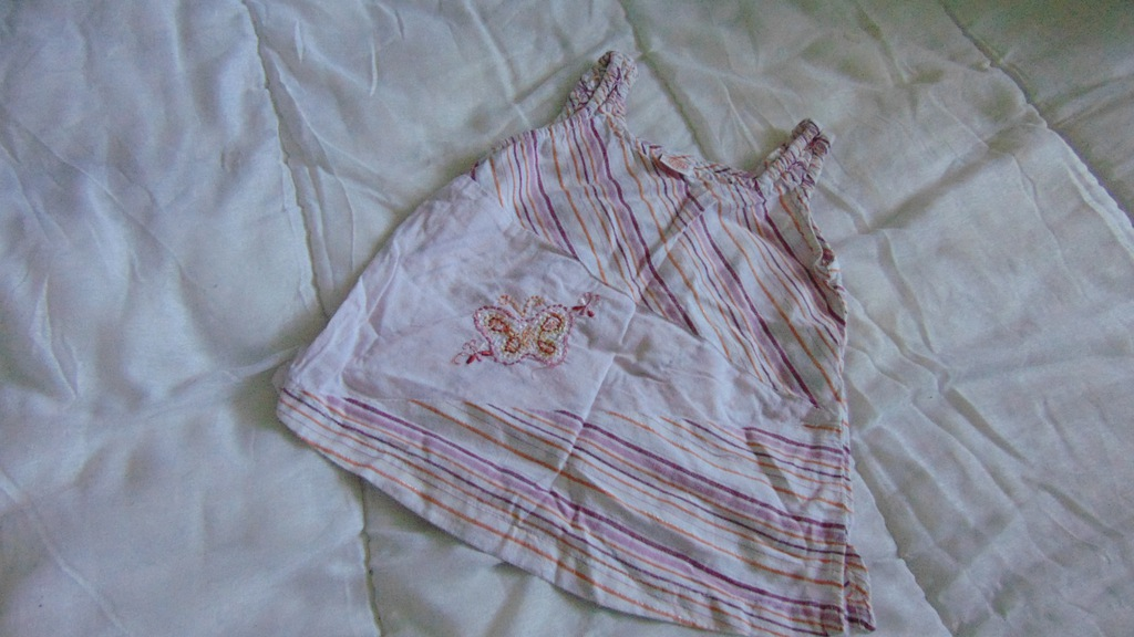 Top koszulka tunika 74 cm z motylkiem