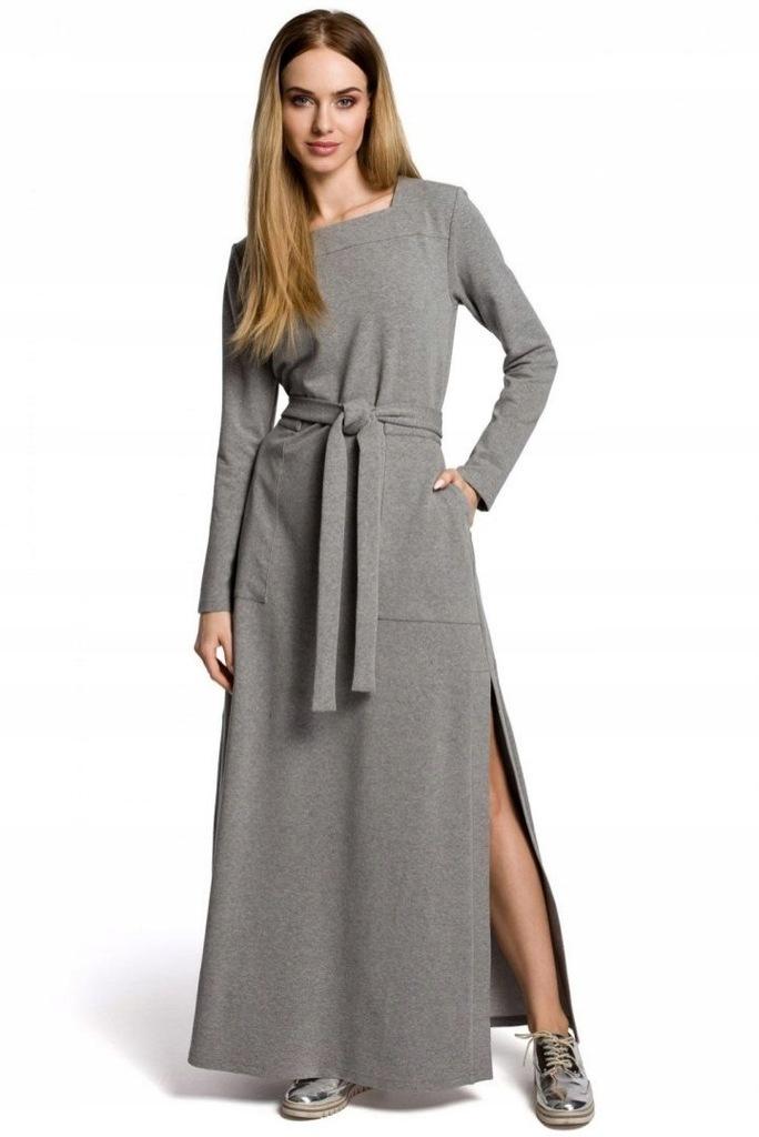 Sukienka Denise szara z rozcięciem bawełna wieczor