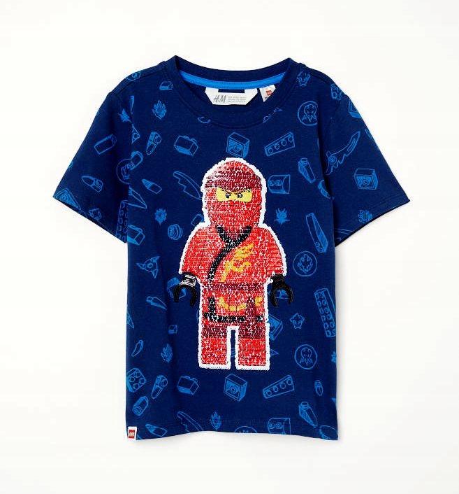 H&M T-SHIRT GRANAT CEKINY LEGO NINJAGO 110/116