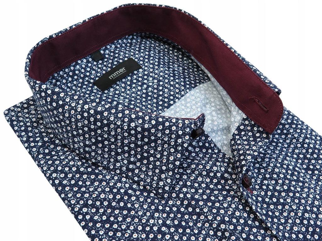 Granatowa koszula w kwiaty 821 188-194 48-REGULAR
