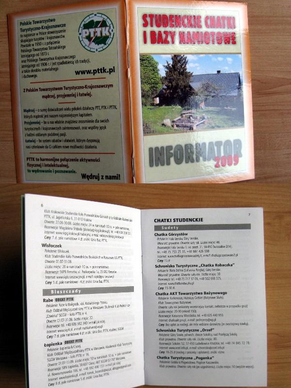 Informator PTTK chatki bazy namiotowe 2009