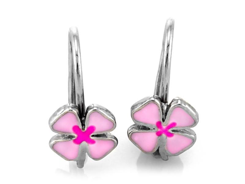 Srebrne kolczyki z różowym kwiatkiem z emalią