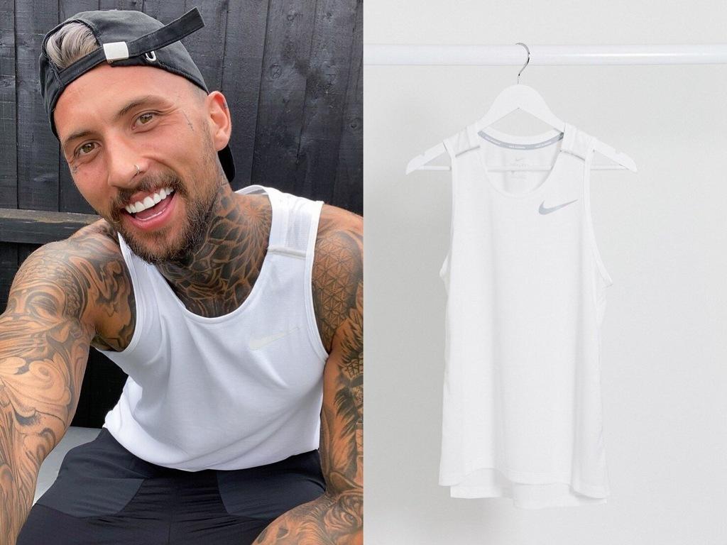 Nike Running Biały podkoszulek z logo, L