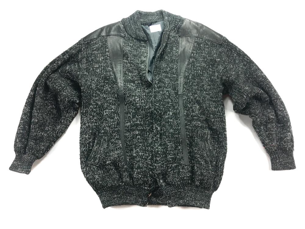 5259 CZARNY sweter MĘSKI ekoskóra XXL