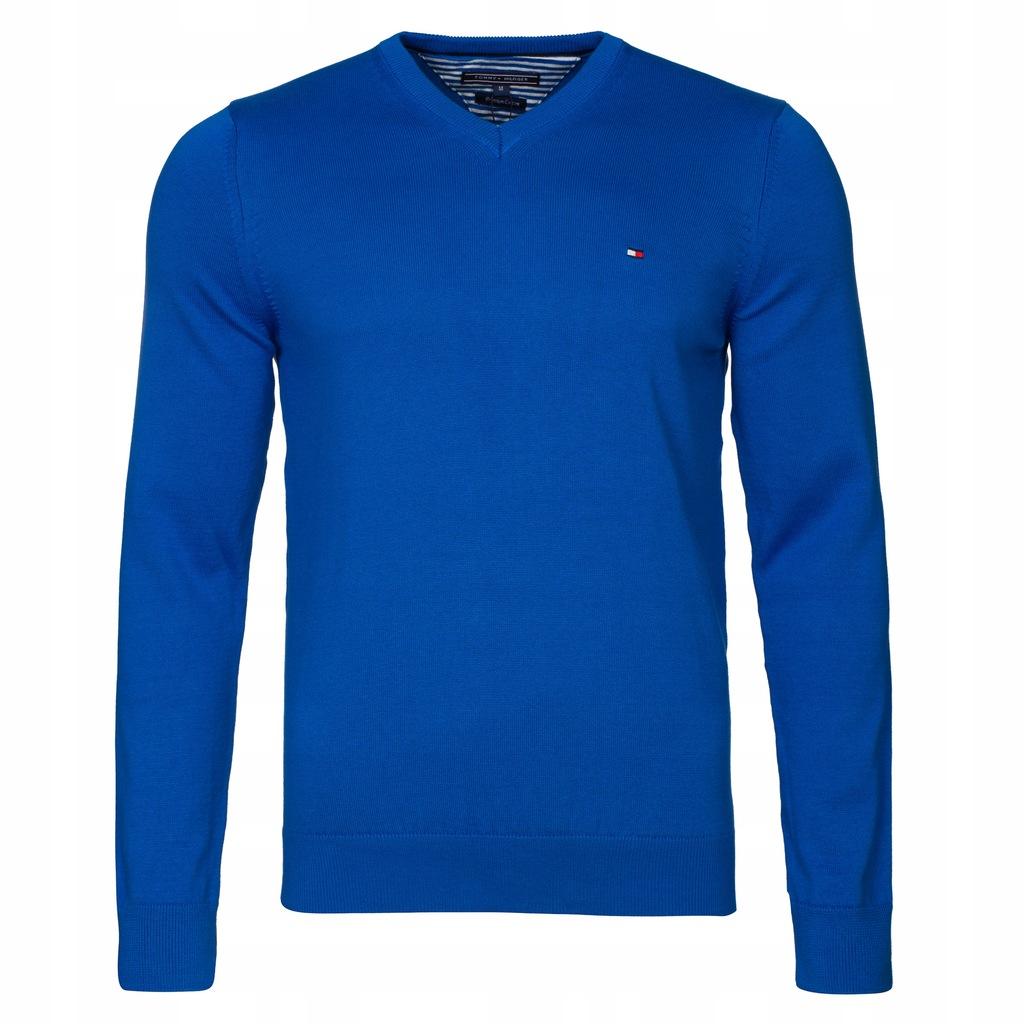 Sweter Tommy Hilfiger Niebieski V-nk rozmiar M