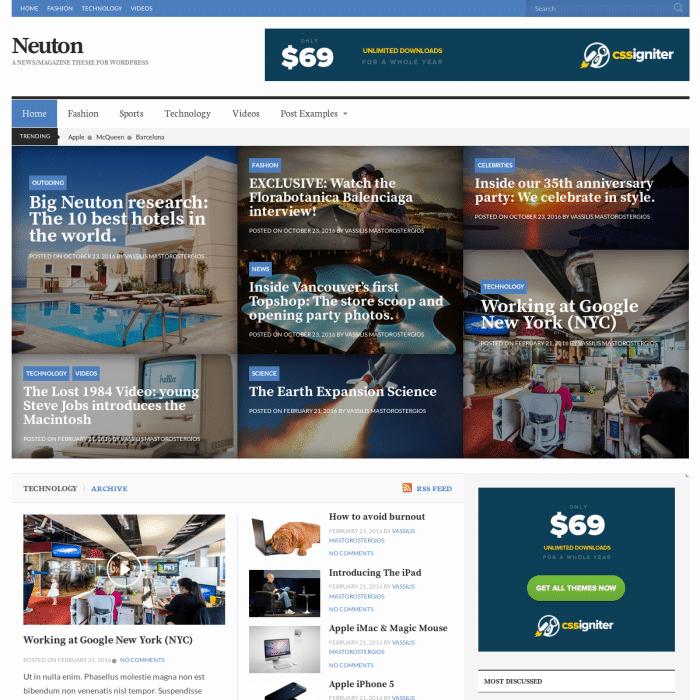 Szablon Neuton News WordPress Theme
