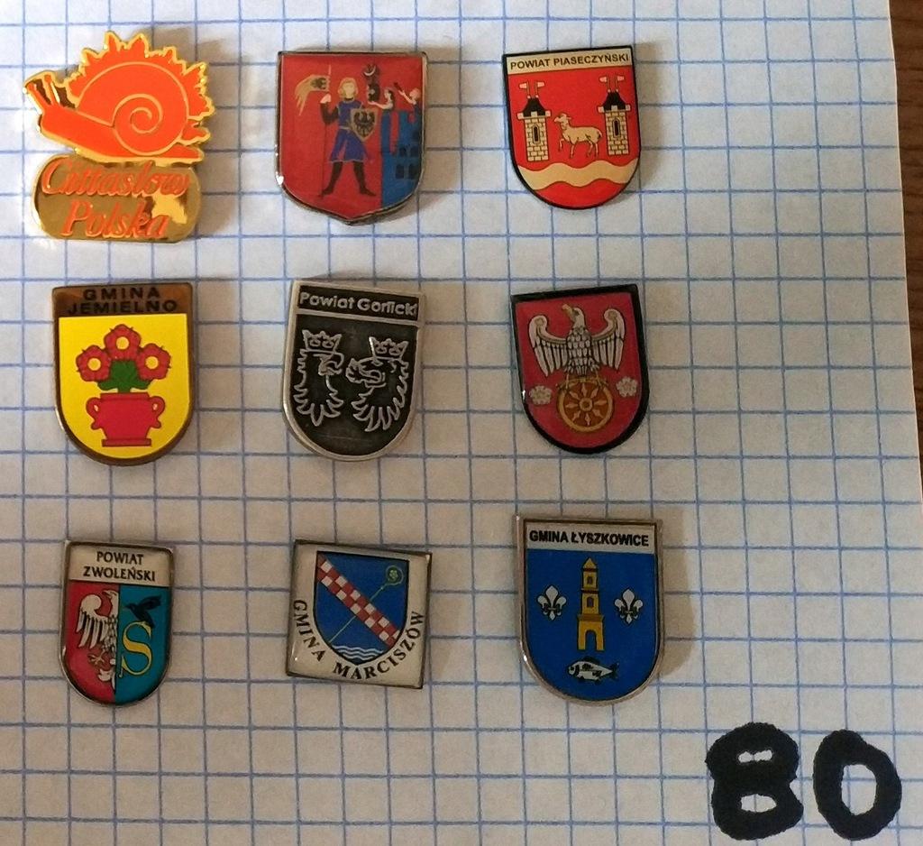 Zestaw odznak herb gmina powiat mix heraldyka 80