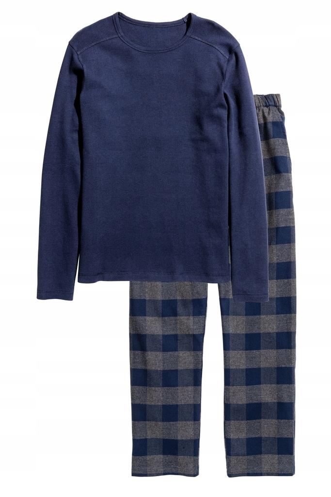 H&M piżama długie spodnie bluzka długi rękaw S