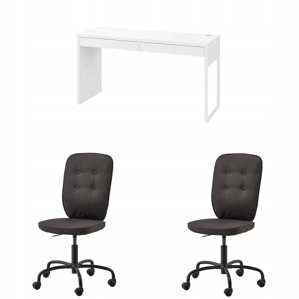 IKEA MICKE biurko + LILLHOJDEN Krzesełka czarne