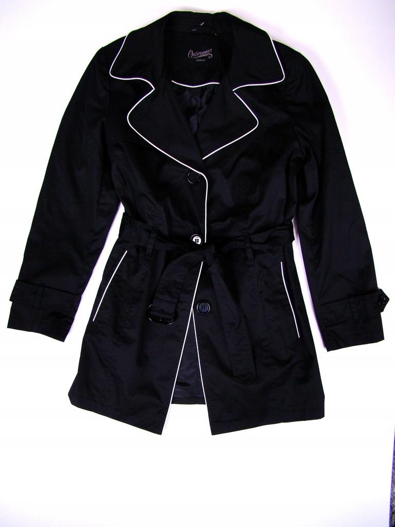 Trencz płaszcz czarny C&A z oblamówkami roz.46