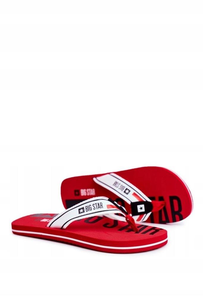 Klapki Męskie Japonki Big Star Czerwone FF274A451