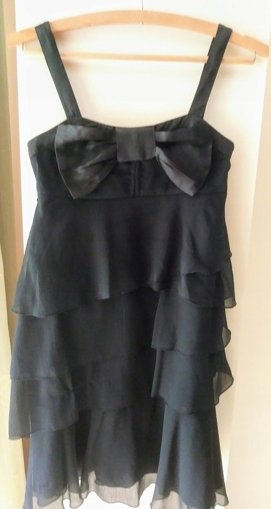 sukienka asos xs 34 czarna mini falbany wesele new