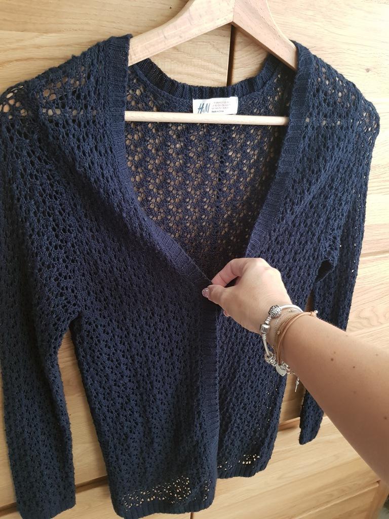 H&M BOHO kardigan sweter ażur szydełko146/152