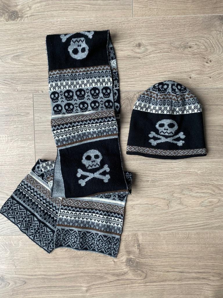 Zara czapka i szalik z czaszką 1-3-5 lat