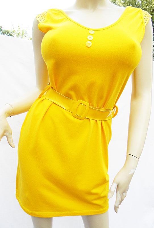 Sukienka z paskiem żółta rozm 42