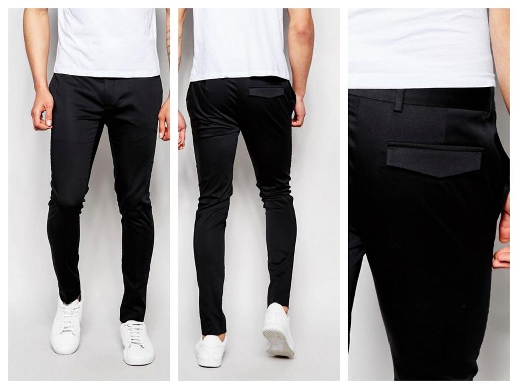mk43 spodnie skinny czarne a la satyna W26 L30