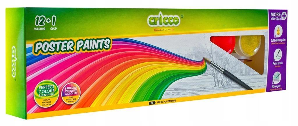 Farby plakatowe ZESTAW z brokatem 12 kolorów