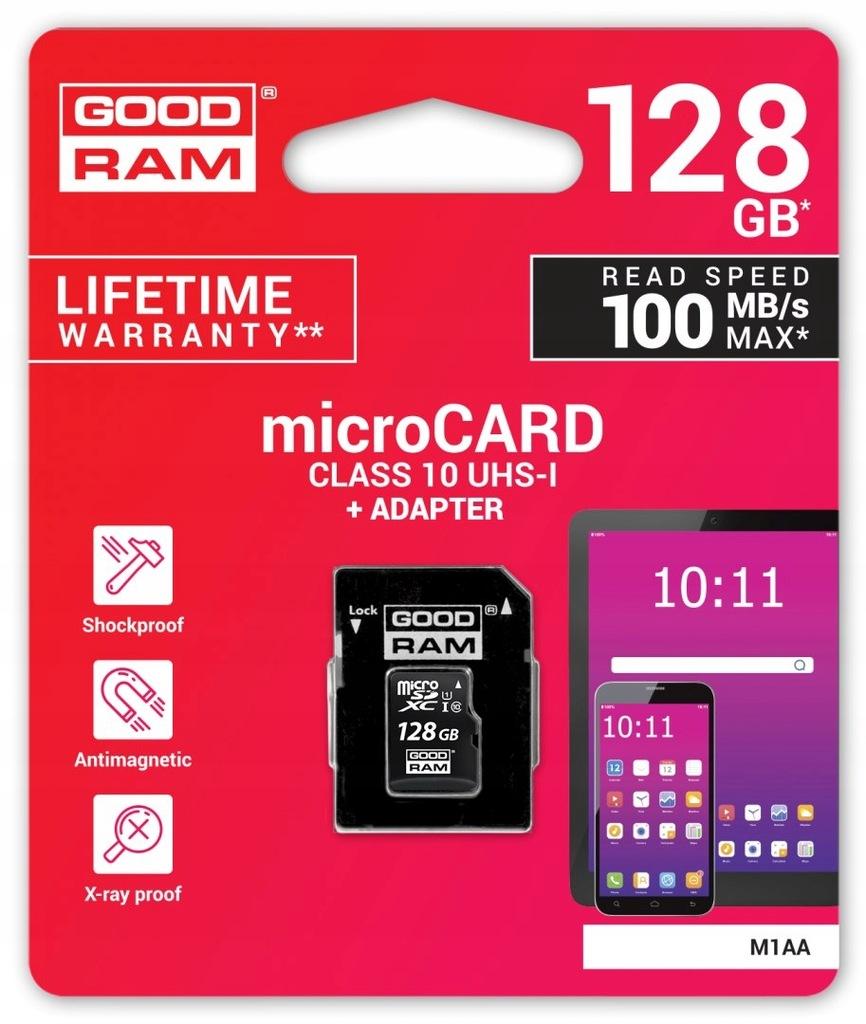 Karta pamięci microSD 128GB UHS-I Goodram z adapte