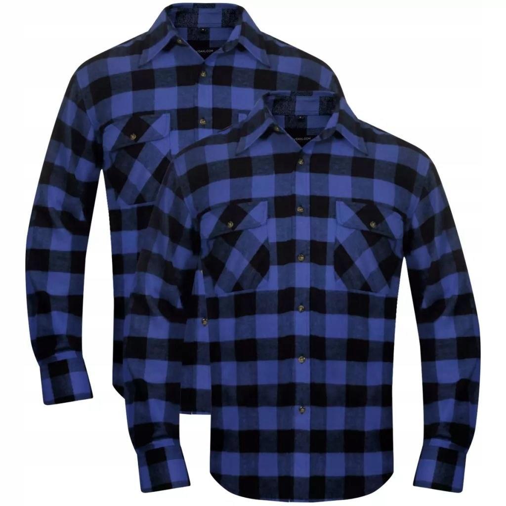2 Męskie koszule flanelowe w niebiesko-czarną krat