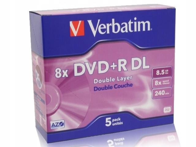 Płyty DVD+R Verbatim 8,5GB 8x 5szt. Slim Case