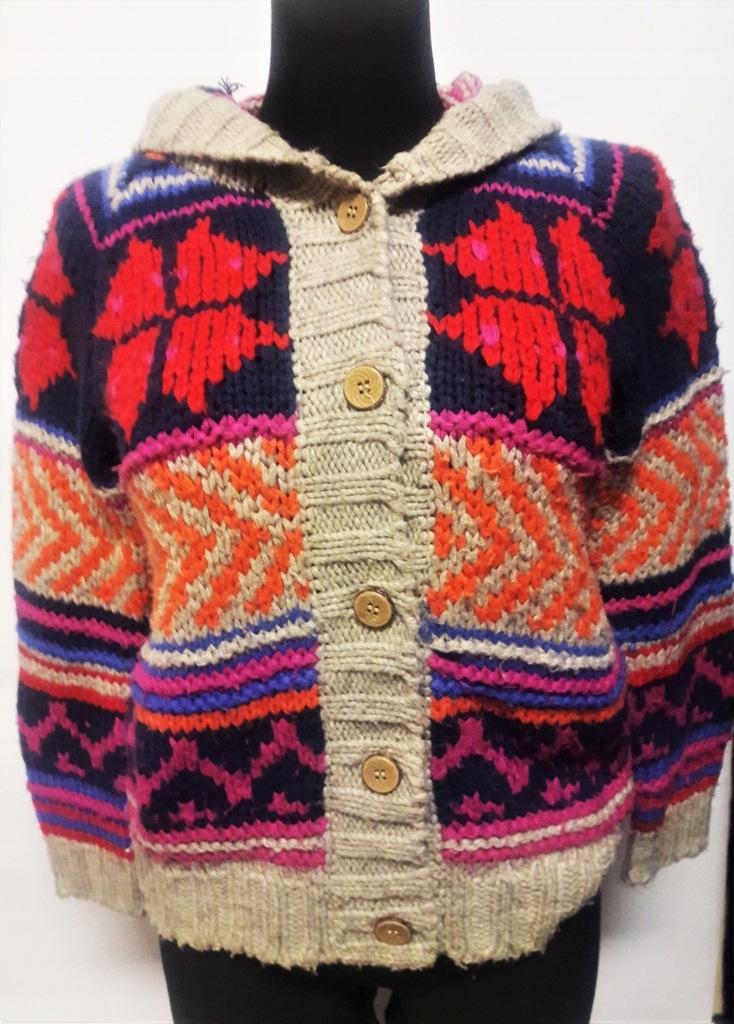 gruby sweter zima S 36 wzór kaptur 10% wełny